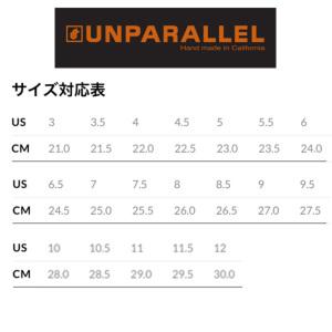 サイズチャート(実寸を目安にワンサイズアップが目安)例:実寸25.5cmならUS8.5